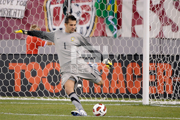 Brazil goalkeeper Victor (1). The men's national team of Brazil (BRA) defeated the United States (USA) 2-0 during an international friendly at the New Meadowlands Stadium in East Rutherford, NJ, on August 10, 2010.