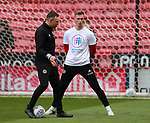 Simon Moore of Sheffield Utd wears a Weston park Charity t-shirt during the championship match at the Bramall Lane Stadium, Sheffield. Picture date 14th April 2018. Picture credit should read: Simon Bellis/Sportimage