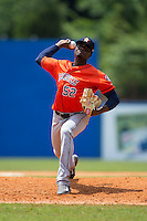 Greeneville Astros relief pitcher Jose Montero (52) in action against the Kingsport Mets at Hunter Wright Stadium on July 7, 2015 in Kingsport, Tennessee.  The Mets defeated the Astros 6-4. (Brian Westerholt/Four Seam Images)