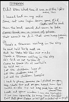 BNPS.co.uk (01202 558833)Pic: Juliens/BNPS<br /> <br /> A document containing the working lyrics for David Bowie's hit song Starman which are noticeably different to the final version has sold for over &pound;61,000.<br /> <br /> The sheet was bought on the phone by a Bowie collector who had flown into Los Angeles specifically to view the lyrics.<br /> <br /> Although the paper is unsigned, it was sold with a letter of authenticity confirming the lyrics were handwritten by Bowie himself.