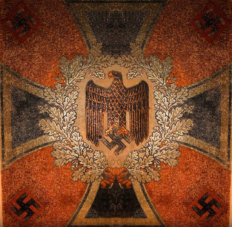 German swastika and eagle emblem in mosaics