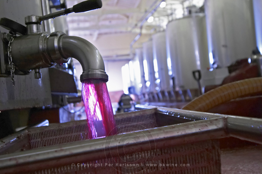 merlot drawing wine from the tank for pumping over chateau phelan segur st estephe medoc bordeaux france
