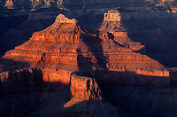69AZGC_106 - USA, Arizona, Grand Canyon National Park, South Rim, Sandstone buttes below Hopi Point redden at sunset.