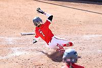 GREENSBORO, NC - FEBRUARY 22: Amanda Ulzheimer #7 of Fairfield University slides across home plate scoring a run during a game between Fairfield and North Carolina at UNCG Softball Stadium on February 22, 2020 in Greensboro, North Carolina.