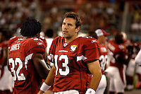 Aug. 31, 2006; Glendale, AZ, USA; Arizona Cardinals quarterback (13) Kurt Warner against the Denver Broncos at Cardinals Stadium in Glendale, AZ. Mandatory Credit: Mark J. Rebilas