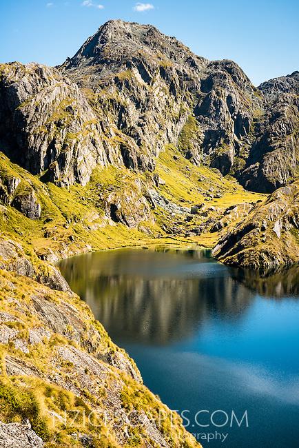 Stunning views toward Serpentine Range across Lake Harris, Mt. Aspiring National Park, UNESCO World Heritage Area, Central Otago, New Zealand, NZ