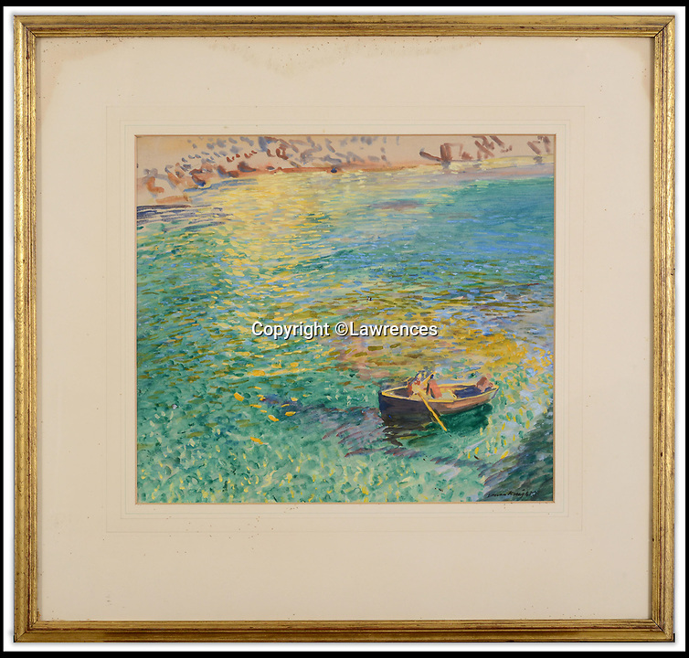 BNPS.co.uk (01202 558833)<br /> Pic: Lawrences/BNPS<br /> <br /> Dame Elizabeth Franks stunning watercolour of Lamorna Cove is up for auction.<br /> <br /> Buy the View...or buy the painting.<br /> <br /> A watercolour depicting a picturesque Cornish cove has emerged for sale offering a perfect consolation prize to those who can't afford the quaint cottage for sale at the real beauty spot.<br /> <br /> The cottage at Lamorna Cove, near Penzance, has been on the market since last summer and currently has an asking price of £875,000.<br /> <br /> The fee required to purchase the breathtaking coastal plot puts it out of reach for most people but one auction house say hope is not lost.<br /> <br /> But the painting of the idyllic spot by renowned artist Dame Elizabeth Frank is to sell with Lawrence's Auctioneers who are preparing for much more modest offers of around £15,000.