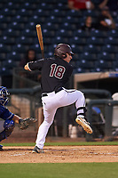 Arizona State University Sun Devils Trevor Hauver (18) at bat during an Instructional League game against the Texas Rangers at Surprise Stadium on October 6, 2018 in Surprise, Arizona. (Zachary Lucy/Four Seam Images)