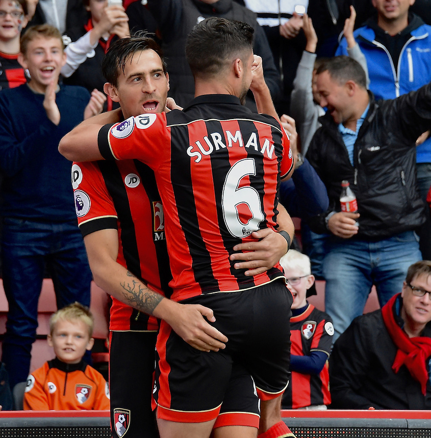 Bournemouth's Charlie Daniels celebrates scoring his sides first goal <br /> <br /> Bournemouth 6 - 1 Hull City<br /> <br /> Photographer David Horton/CameraSport<br /> <br /> The Premier League - Bournemouth v Hull City - Saturday 15th October 2016 - Vitality Stadium - Bournemouth<br /> <br /> World Copyright &copy; 2016 CameraSport. All rights reserved. 43 Linden Ave. Countesthorpe. Leicester. England. LE8 5PG - Tel: +44 (0) 116 277 4147 - admin@camerasport.com - www.camerasport.com