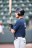 Third baseman Rigoberto Terrazas (9) of the Columbia Fireflies takes batting practice before a game against the Greenville Drive on Wednesday, April 18, 2018, at Fluor Field at the West End in Greenville, South Carolina. Columbia won 8-4. (Tom Priddy/Four Seam Images)