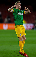Preston North End's Jayden Stockley celebrates after the final whistle<br /> <br /> Photographer Alex Dodd/CameraSport<br /> <br /> The EFL Sky Bet Championship - Middlesbrough v Preston North End - Wednesday 13th March 2019 - Riverside Stadium - Middlesbrough<br /> <br /> World Copyright &copy; 2019 CameraSport. All rights reserved. 43 Linden Ave. Countesthorpe. Leicester. England. LE8 5PG - Tel: +44 (0) 116 277 4147 - admin@camerasport.com - www.camerasport.com