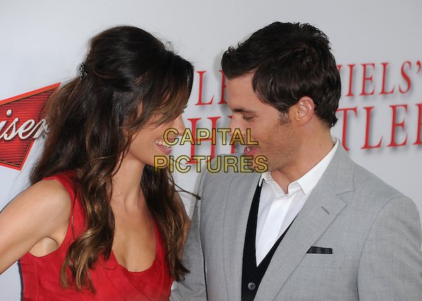Minka Kelly &amp; James Marsden<br /> &quot;Lee Daniels' The Butler&quot; Los Angeles Premiere held at Regal Cinemas L.A. Live, Los Angeles, California, USA.        <br /> August 12th, 2013    <br /> headshot portrait grey gray suit stubble facial hair white shirt red smiling profile mouth open <br /> CAP/DVS<br /> &copy;DVS/Capital Pictures