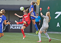Portland, Oregon - Sunday September 4, 2016: Portland Thorns FC defender Emily Sonnett (16) and Boston Breakers defender Julie King (8) collide during a regular season National Women's Soccer League (NWSL) match at Providence Park.