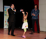 On Stage - Constantine Maroulis (with his partner Angel and daughter Malena James, Bold and The Beautiful - American Idol) (he sang This is the Moment) with author Nick Katsoris (author of Loukoumi books) at Loukoumi & Friends Concert held on June 23, 2014 at the Scholastic Theatre, New York City, New York.  Proceeds will benefit The Loukoumi Make a Difference Foundation. Foundation first project will be the Make A Difference with Loukoumi television special airing on FOX stations Oct 19-20. (Photo by Sue Coflin/Max Photos)