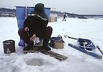 Ice fisherman on Lake, Towada, in the Northern most tip of Honshu, Japan. (Jim Bryant Photo)
