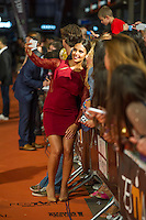 Spanish actress Cristina Pedroche poses for the photographers on the Orange Carpet for to present the TV serie Bajo Sospecha during of 6th 'FesTVal' Television Festival 2014 in Vitoria, northern Spain. September 05, 2014. (ALTERPHOTOS/Sirocco)