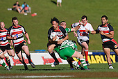 Tasesa Lavea gets tackled by Matty James as Mark Selwyn & lelia Masaga  arrive in support. Air New Zealand Cup rugby game between the Counties Manukau Steelers & Manawatu Turbos, played at Growers Stadium Pukekohe on Staurday September 20th 2008..Counties Manukau won 27 - 14 after trailing 14 - 7 at halftime.
