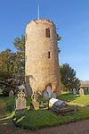 Unusual detached round tower in churchyard of church of Saint Andrew, Bramfield, Suffolk, England, UK