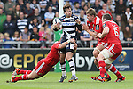 Danny Cipriani of Sale Sharks tackled by three Munster players - European Rugby Champions Cup - Sale Sharks vs Munster -  AJ Bell Stadium - Salford- England - 18th October 2014  - Picture Simon Bellis/Sportimage