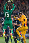 Atletico de Madrid's Jan Oblak and Saul Ñiguez and FC Barcelona Gerard Pique during Champions League 2015/2016 Quarter-Finals 2nd leg match. April 13, 2016. (ALTERPHOTOS/BorjaB.Hojas)