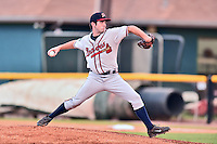 Danville Braves starting pitcher Cameron Stanton (32) delivers a pitch during a game against the Johnson City Cardinals at Howard Johnson Field at Cardinal Park on July 26, 2016 in Johnson City, Tennessee. The Braves defeated the Cardinals 10-8. (Tony Farlow/Four Seam Images)