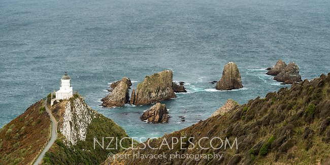 Nugget Point lighthouse with rocky islets, Catlins, Southland, South Island, New Zealand, NZ