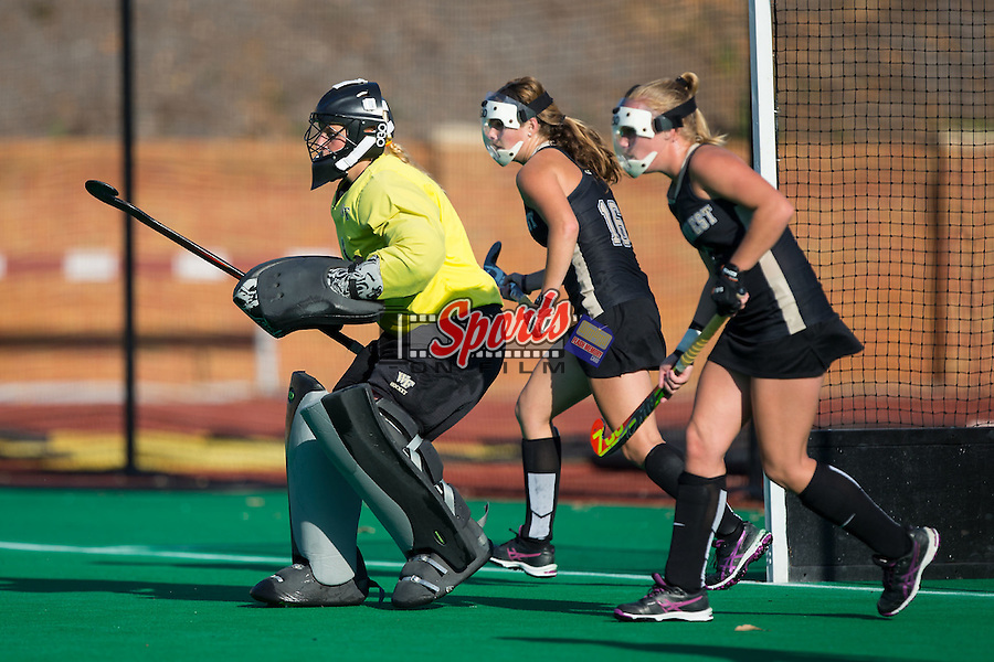 Valerie Dahmen (1) of the Wake Forest Demon Deacons defends her goal during a second half penalty corner against the North Carolina Tar Heels at Kentner Stadium on October 23, 2015 in Winston-Salem, North Carolina.  The Demon Deacons defeated the Tar Heels 3-2.  (Brian Westerholt/Sports On Film)