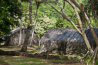 Recreated Hawaiian huts at Kamokila Hawaiian Village, Wailua River Valley, Kauai.