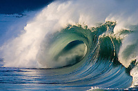 Beautiful wave at the Waimea Bay shore break on the island of Oahu, Hawaii.