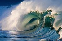 Beautiful wave at the Waimea Bay shore break on the island of Oahu, Hawaii.