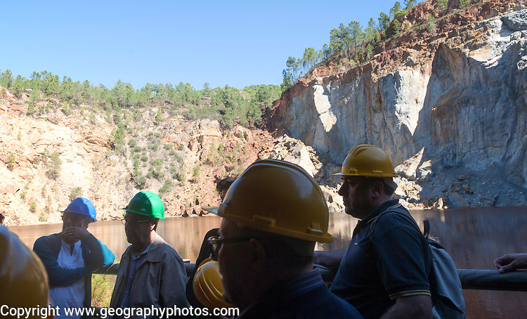 Tourists at Peña del Hierro Mine, Minas de Riotinto, Rio Tinto mining area, Huelva province, Spain