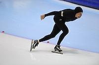 SCHAATSEN: HEERENVEEN: Thialf, 4th Masters International Speed Skating Sprint Games, 25-02-2012, Frans Rietveld (M70) 1st, ©foto: Martin de Jong