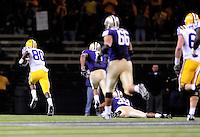 Sept. 5, 2009; Seattle, WA, USA; LSU Tigers wide receiver (80) Terrance Toliver runs towards the endzone on his way to scoring a fourth quarter touchdown against the Washington Huskies at Husky Stadium. LSU defeated Washington 31-23. Mandatory Credit: Mark J. Rebilas-