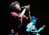 Indio, Ca.- Zack de la Rocha of Rage Against The Machine performs during finale of the 8th annual Coachella Valley Music and Arts Festival. Sunday, April 29, 2007.