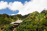 FRENCH POLYNESIA, Moorea Island. Bungalows, Interiors and views of the Legends Resort Moorea.
