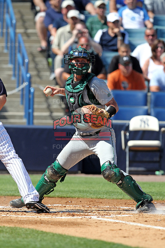 USF Bulls catcher Andrew Longley #14 during a scrimmage against the New York Yankees at Steinbrenner Field on March 2, 2012 in Tampa, Florida.  New York defeated South Florida 11-0.  (Mike Janes/Four Seam Images)