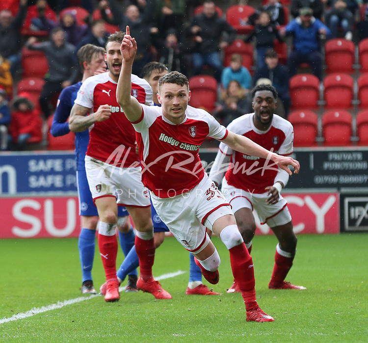 Rotherham United VS Peterborough United<br /> New York Stadium - Friday 30th March 2018<br /> <br /> Caolan Lavery scores the Millers leading goal 1-0