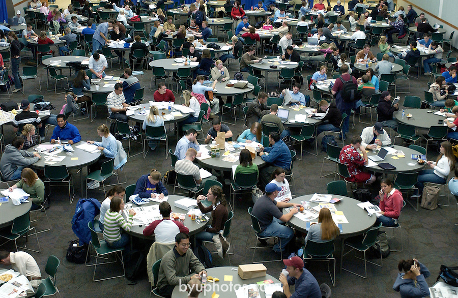 ".""A Day in the Life of BYU""..9/22/04..BYU Cougareat- Students eat and study in the WSC at lunchtime...For additional questions or for individual identifications, contact Neil R. Cardon, 422-7915, neil_cardon@byu.edu. ..Photo by Jaren Wilkey/BYU..Copyright BYU PHOTO 2004.photo@byu.edu  801-422-7322.0409-48 CougarEat....."