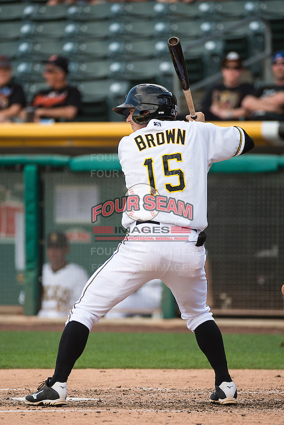 Gary Brown (15) of the Salt Lake Bees at bat against the Albuquerque Isotopes in Pacific Coast League action at Smith's Ballpark on June 8, 2015 in Salt Lake City, Utah.  (Stephen Smith/Four Seam Images)