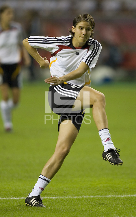 Germany defender (5) Annike Krahn. Germany (GER) defeated Argentina (ARG) 11-0 during an opening round Group A match of the FIFA Women's World Cup China 2007 at Shanghai Kongkou Football Stadium, Shanghai, China, on September 10, 2007.