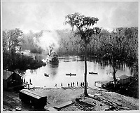 Stern-Wheeler Arriving at Silver Springs, Florida, after an Overnight Run up the St. Johns, Oklawaha, &amp; Silver Rivers]<br /> <br /> Published 1886
