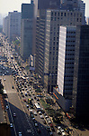 Sao Paulo, Brazil. View from the top of a high-rise building looking along the Avenida Paulista with traffic.
