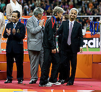 Sunil Gulati, Pia Sundhage, officials.  Japan won the FIFA Women's World Cup on penalty kicks after tying the United States, 2-2, in extra time at FIFA Women's World Cup Stadium in Frankfurt Germany.