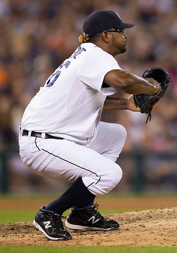 August 07, 2012:  Detroit Tigers relief pitcher Jose Valverde (46) during MLB game action between the New York Yankees and the Detroit Tigers at Comerica Park in Detroit, Michigan.  The Tigers defeated the Yankees 6-5.