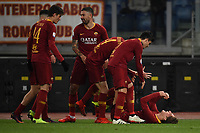 Nicolo Zaniolo of AS Roma celebrates with team mates after scoring a goal  during the Serie A 2018/2019 football match between AS Roma and Sassuolo at stadio Olimpico, Roma, December, 26, 2018 <br />  Foto Andrea Staccioli / Insidefoto