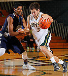 SPEARFISH, SD - DECEMBER 15, 2013:  Brady Bisgaard #3 of Black Hills State drives past Gokul Natesan #31 of Colorado Mines during their Rocky Mountain Athletic Conference game Sunday afternoon at the Donald E. Young Center in Spearfish, S.D.  (Photo by Dick Carlson/Inertia)