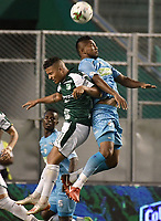 PALMIRA - COLOMBIA, 20-07-2019: Feiver Mercado del Cali disputa el balón con Leonardo Escorcia de Jaguares durante partido entre Deportivo Cali y Jaguares de Córdoba por la fecha 2 de la Liga Águila II 2019 jugado en el estadio Deportivo Cali de la ciudad de Palmira. / Feiver Mercado of Cali vies for the ball with Sebastian Ayala of Jaguares during match between Deportivo Cali and Jaguares de Cordoba for the date 2 as part Aguila League II 2019 played at Deportivo Cali stadium in Palmira city. Photo: VizzorImage / Gabriel Aponte / Staff