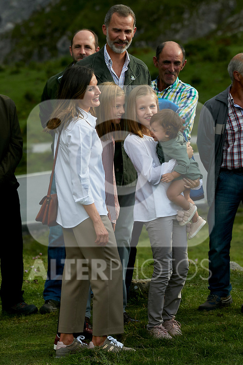 King Felipe VI of Spain, Princess Leonor of Spain, Princess Sofia of Spain and Queen Letizia of Spain visit the Enol lake in Asturias, Spain. September 08, 2018. (ALTERPHOTOS/A. Perez Meca)