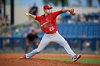 Palm Beach Cardinals relief pitcher Will Latcham (26) delivers a pitch during a game against the Charlotte Stone Crabs on April 21, 2018 at Charlotte Sports Park in Port Charlotte, Florida.  Charlotte defeated Palm Beach 5-2.  (Mike Janes/Four Seam Images)