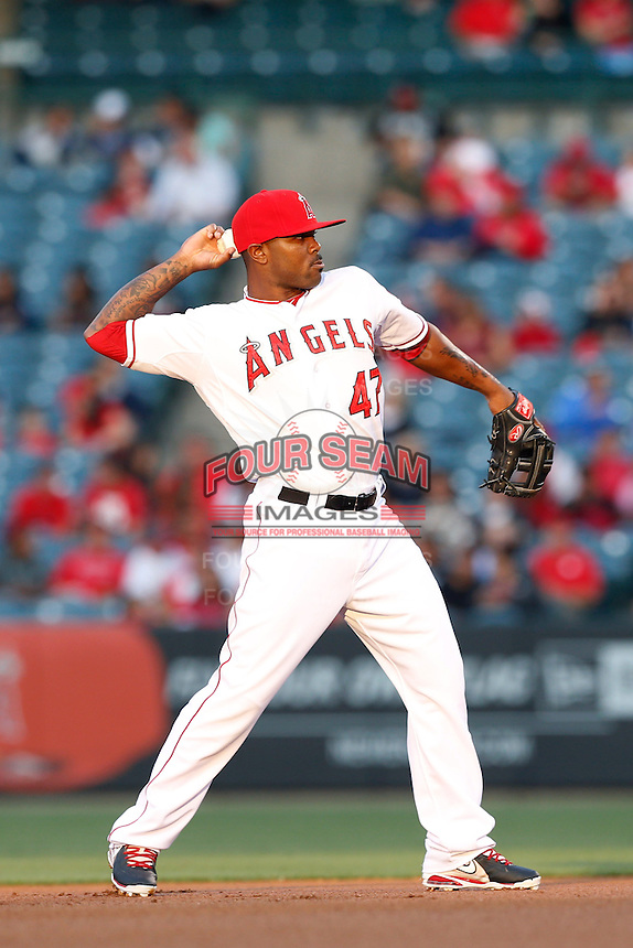 Howie Kendrick #47 of the Los Angeles Angels during a game against the Chicago White Sox at Angel Stadium on May 17, 2013 in Anaheim, California. (Larry Goren/Four Seam Images)